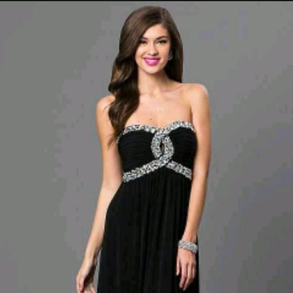 Black Strapless Empire Dress